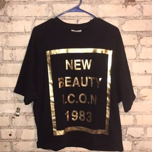 Zara TRF US M  Graphic sweatshirt NWT Navy/Gold